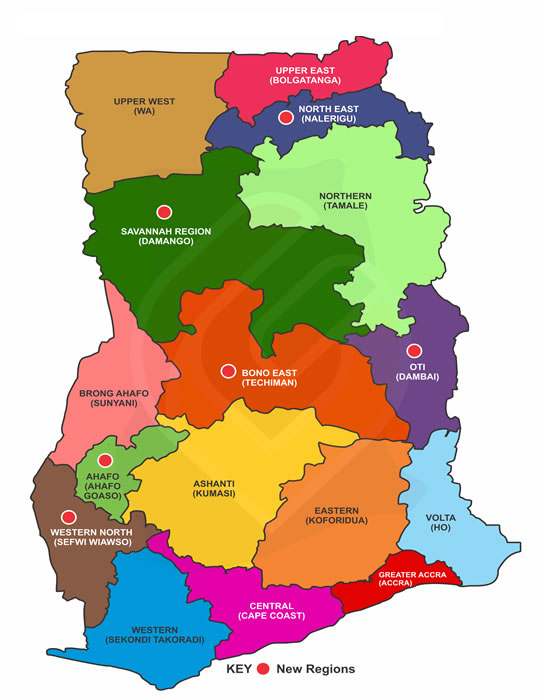Map Ghana Regions Ghana Districts: A repository of all Local Assemblies in Ghana